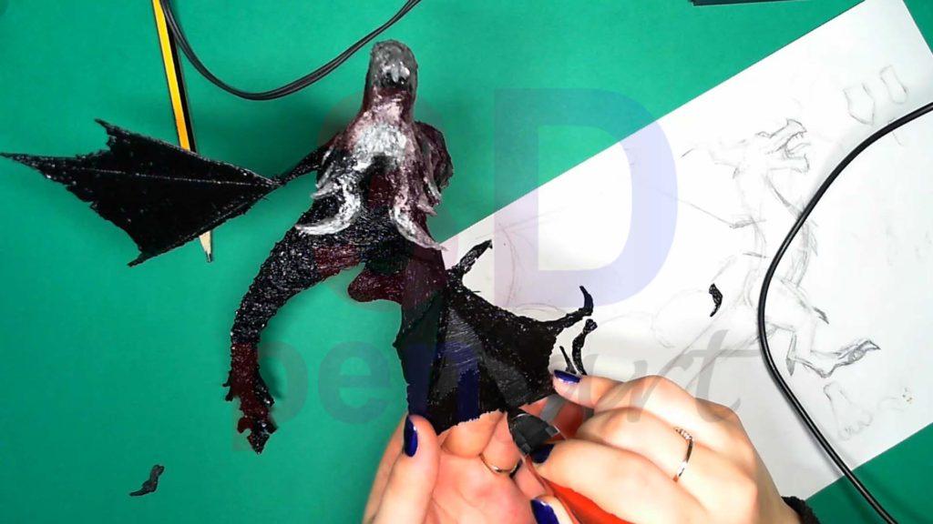 Дракон 3D ручкой. Штриховка крыльев, крепим когти