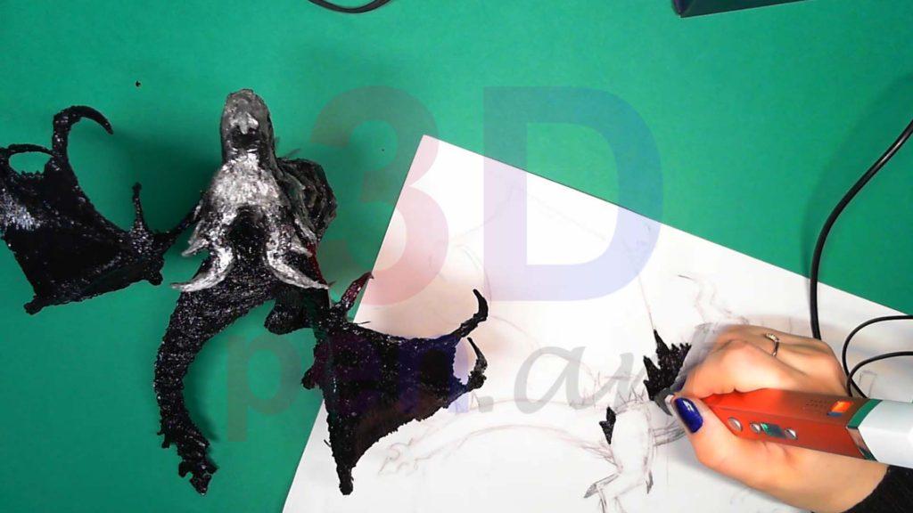 Дракон 3D ручкой. Детали гребня