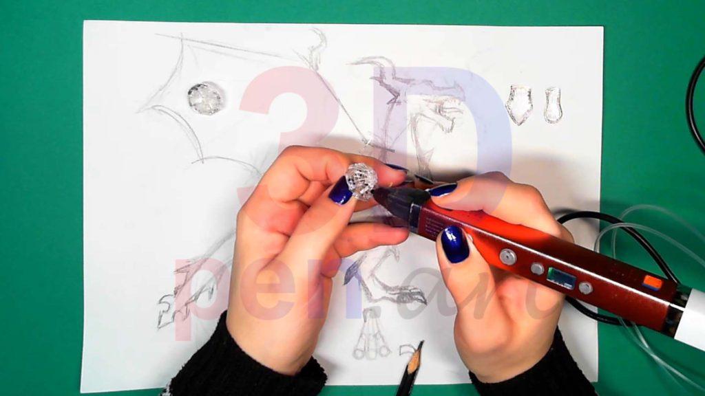 Дракон 3D ручкой. Вторая деталь каркаса головы
