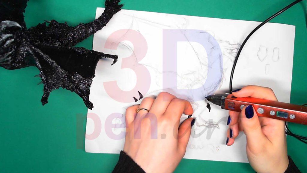 Дракон 3D ручкой. Шипы для лап и хвоста