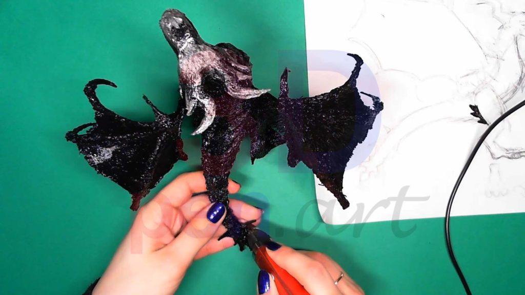 Дракон 3D ручкой. Крепим шипы