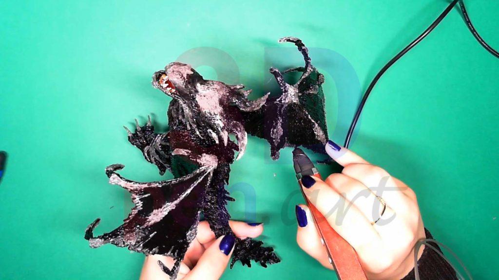 Дракон 3D ручкой. Обрамление текстур на крыльях
