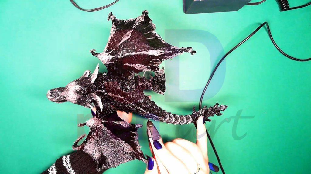 Дракон 3D ручкой. Обрамление текстур на спине и хвосте