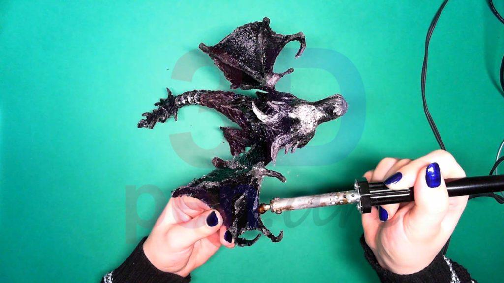Дракон 3D ручкой. Обработка паяльником