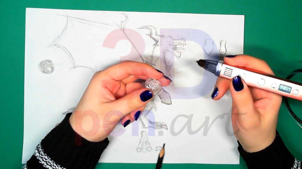 Дракон 3D ручкой. Крепим деталь пасти